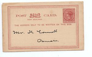 NEW Zealand 1876 Victoria One Penny tutta causa Postal Stationery