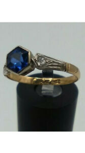 Antique Art Deco 9ct Gold & Platinum Sapphire Paste Diamond Paste Ring Size O