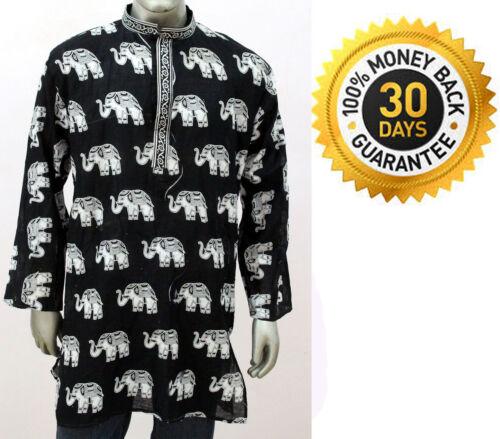 Men's 100/% Cotton Elephant Print Tunic Kurta Shirt Plus Size Black White Color