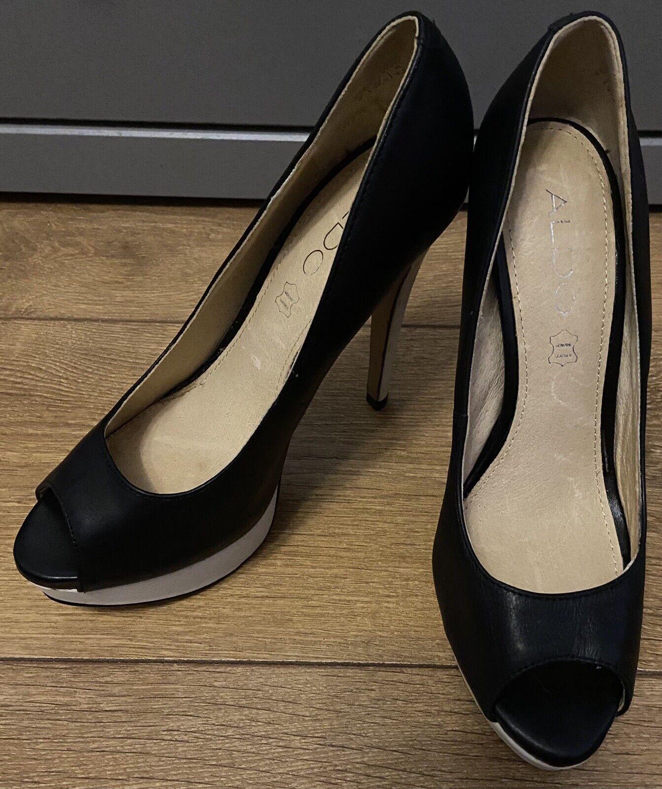Aldo Black And White Leather Peep Toe Platform Heels Size 4,5