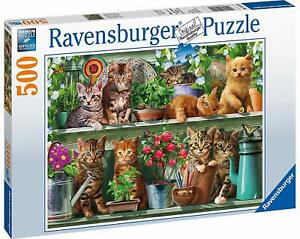 Ravensburger-Jigsaw-Puzzle-CATS-on-the-SHELF-500-Pieces-Cute-Kittens-Flowers