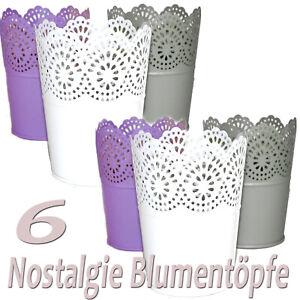 6-STUCK-SET-BLUMENTOPF-Metall-Pastell-Vintage-Pflanztopf-weiss-lila-grau-klein