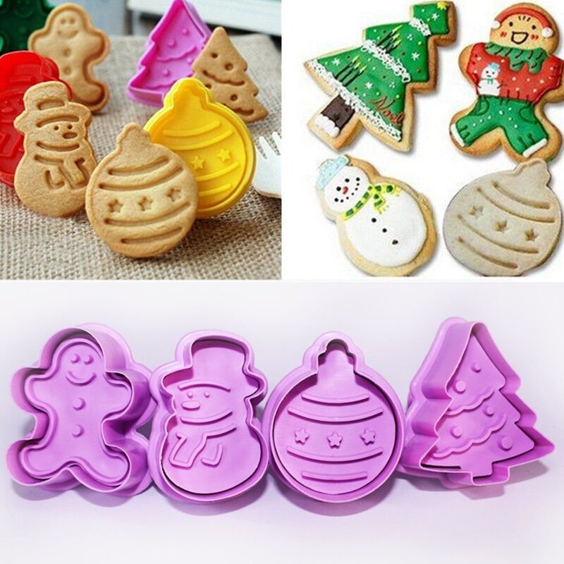 4Pcs//Set Christmas Cookie Biscuit Plunger Cutter Mould Fondant Cake Mold Baking