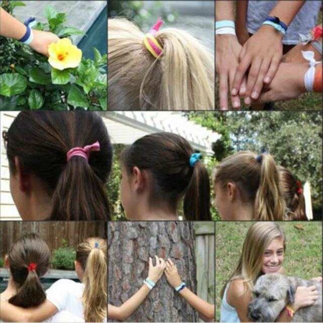 10X Girls Rubber Elastic Bracelets Holder Hairband Ponytail Knot Hair Tie