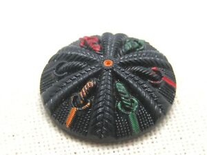 Victorian-Painted-Black-Glass-Sewing-Button-Domed-1-1-8-034-Shank