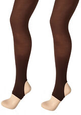 Luxury Ballerina Dancer Majorette Premium Stirrup Dance Tights-Lt Tan//Dk Tan