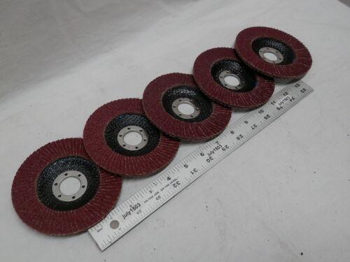 "5 NEW 4-1//2/"" Aluminum Oxide Flap Disc 80 Grit 7//8 wood metal plastic"