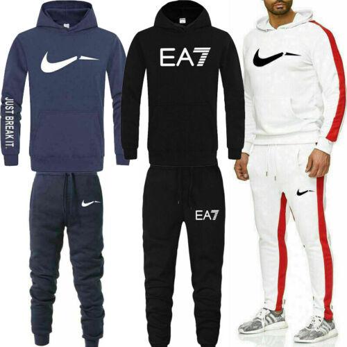 Men Full Tracksuit Set Hoodie Bottoms Sweat Track Suit Jogging Gym Sport Fitness