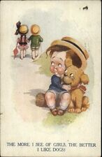 Donald McGill - Little Boy Likes His Puppy More Than Girls Postcard