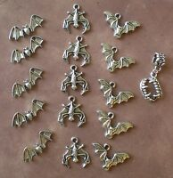 15 Flying Bats + Bonus Charm Gothic Hanging Bat Charm Halloween Haunted Jewelry