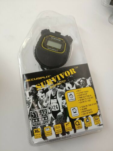Accusplit Survivor 1 Series Chronograph Stopwatch S1XLBK Timer Gym Phys Ed D8