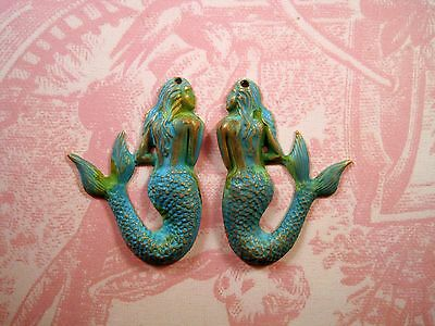 Small Verdigris Patina Brass Mermaid Stampings With Hole (2) -VPSG6862H-SG6863H