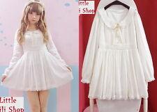 Kawaii Sweet Gothic Lolita Pretty Girls Long Sleeve Lace Dress Onepiece White