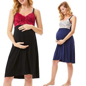 Maternity-Nightdress-Nightwear-Strappy-Nightie-Breastfeeding-Nursing-Gown-S-2XL