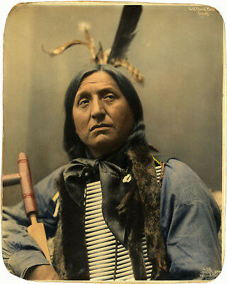 1899 Oglala Lakota Native American Indian Thomas White Face Art Poster Print