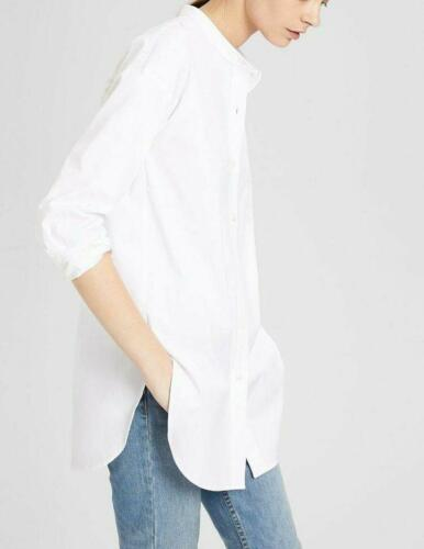 Theory Women/'s Boy Tunic Stretch Cotton Poplin White Removable Collar Shirt XS.