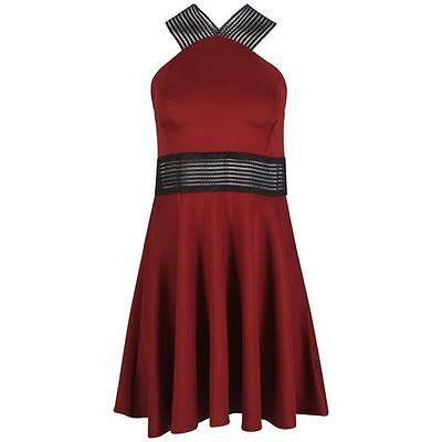 Maglia Rossa Con Inserti Skater Dress Size 10-mostra Il Titolo Originale