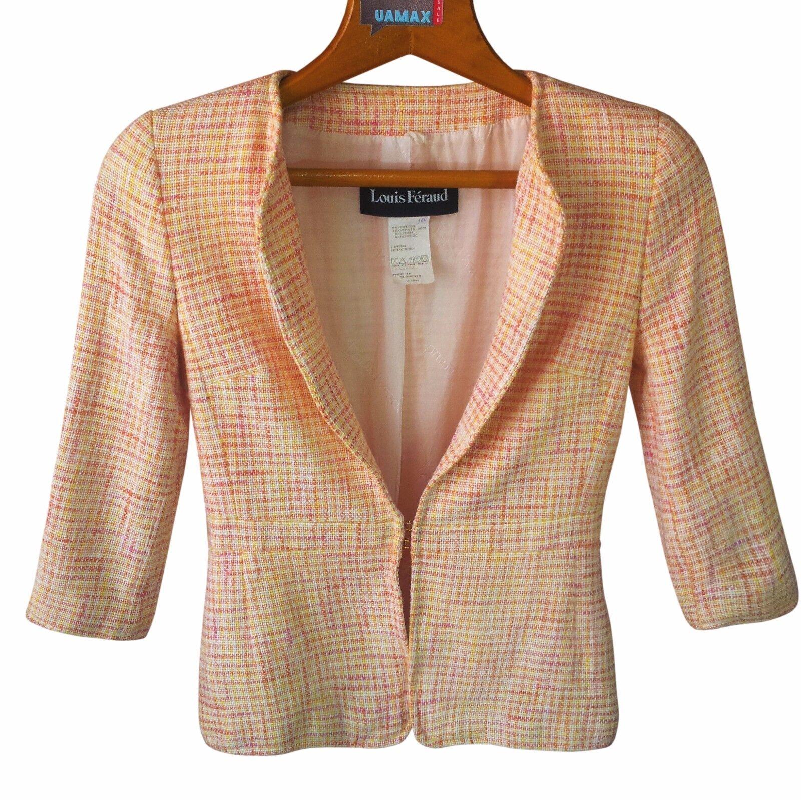 LOUIS FERAUD Women Wool Blazer Size M Womens orange Blazer Plaid NWT  270