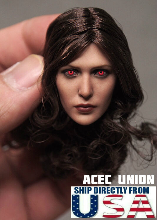 1 6 Elizabeth Olsen Scarlet Witch RED EYE Head Sculpt For Hot Toys Phicen U.S.A.