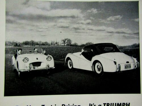 """1955 Triumph TR 2 For The New Zest In Driving  Original Print Ad 8.5 x 11/"""""""