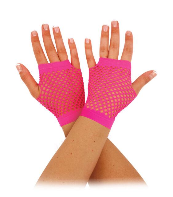 Accessorio Vestito Guanti a Rete Corto Rosa Neon