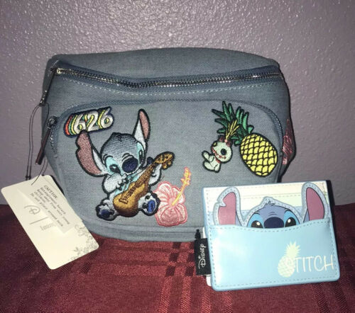 Loungefly Lilo /& Stitch Patches Denim Fanny Pack And Stitch Cardholder New