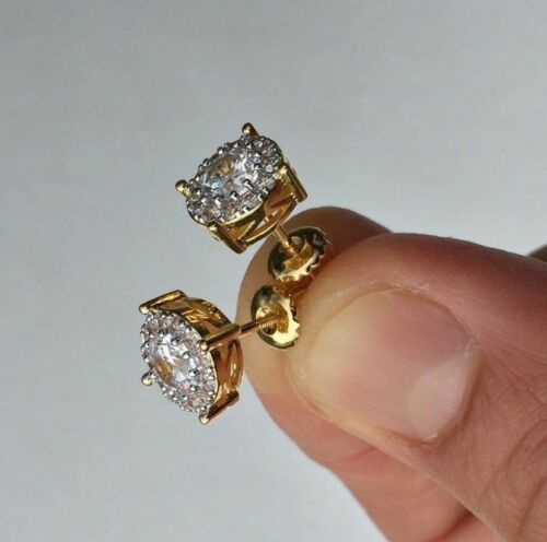 1.00 CT Round Cut VVS1 Diamond Halo Stud Earrings In 14K Yellow Gold Over