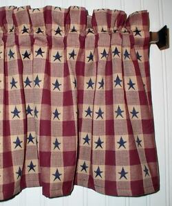 Genial Image Is Loading Navy Blue Stars On Berry Red Plaid Valance