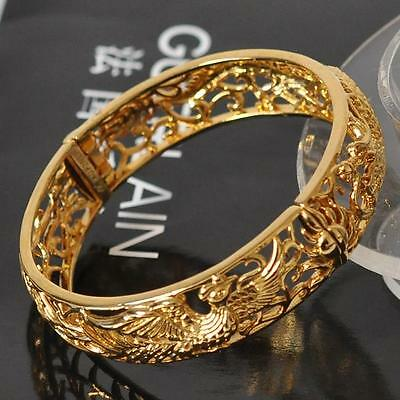 China dragon phoenixLuxurywomen's 18K Yellow Gold Filled carved bangle Wedding
