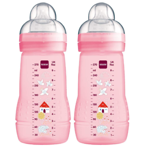 Twin Pack of Bottles MAM Easy Active Baby Bottle with Medium Flow Teats Feedin