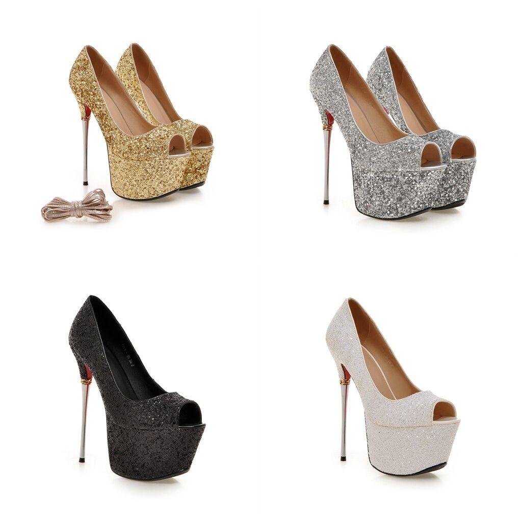 Women's High Heel Shoes Peep Toe Glitter Lace Platform Pumps US Size 2~10.5 S935