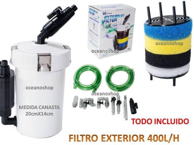 FILTRO EXTERIOR COMPLETO 400L/H 6W HW-602B FOAMEX LLAVES MANGUERAS para acuario