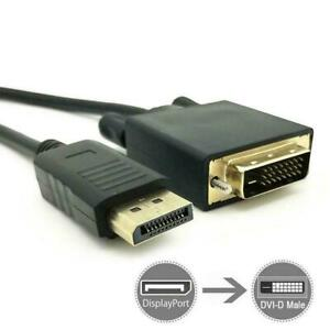 6Feet-Gold-Plated-DisplayPort-DP-To-DVI-D-Male-Dual-Cable-Adapter1080p-1-8m-K1C5