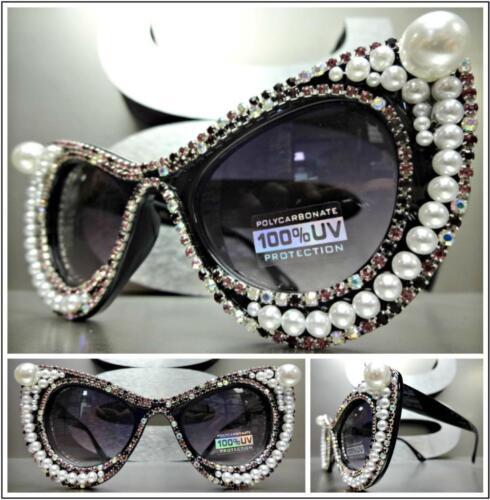CLASSIC RETRO CAT EYE Style SUN GLASSES Black Frame Pearls Crystals Custom Made