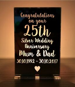 25th Wedding Anniversary Gifts.Details About Personalised 25th Silver Wedding Anniversary Gifts Candle Holder Mum Dad Gifts