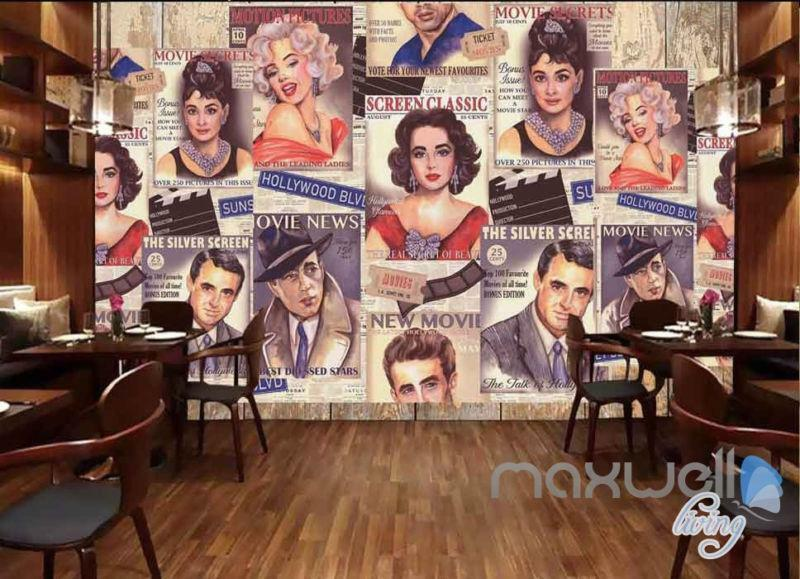 3D Illustrated Old Movie Poster Wallpaper Wall Mural Art Prints Decals
