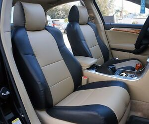 ACURA TL BLACKBEIGE SLEATHER CUSTOM FRONT SEAT COVER EBay - Acura tl seat covers