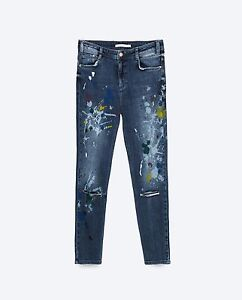 Once 36used Uk Paint Slouchy Zara Jeans 8Br taglia 76yfgb