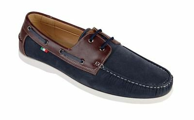 D555 Leather/pu/suede Mix Laceup Boat Shoes (luther) In Navy Attraktiv Und Langlebig