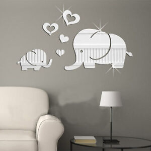Elephant Wall Decor Mirror Sticker DIY Removable Art Baby Kids Room Mural Decals
