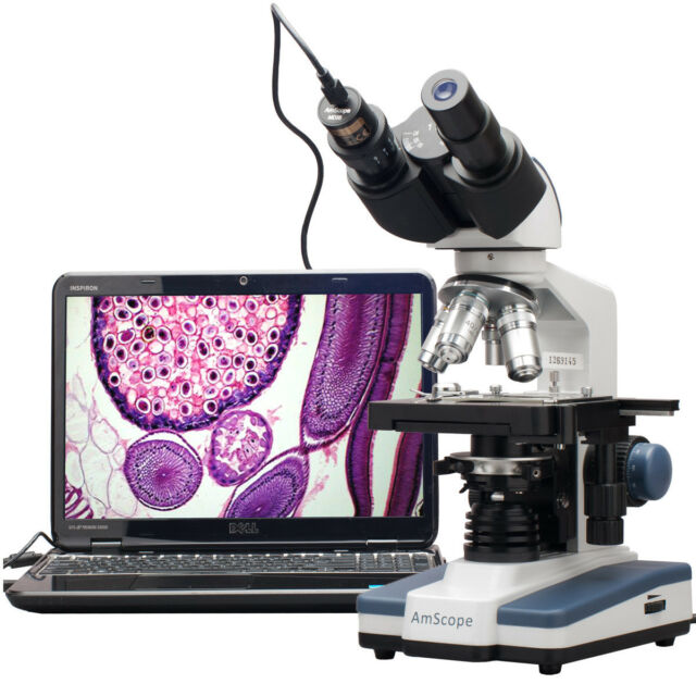 40X-2000X LED Digital Binocular Compound Microscope with 3D Stage + USB Imager