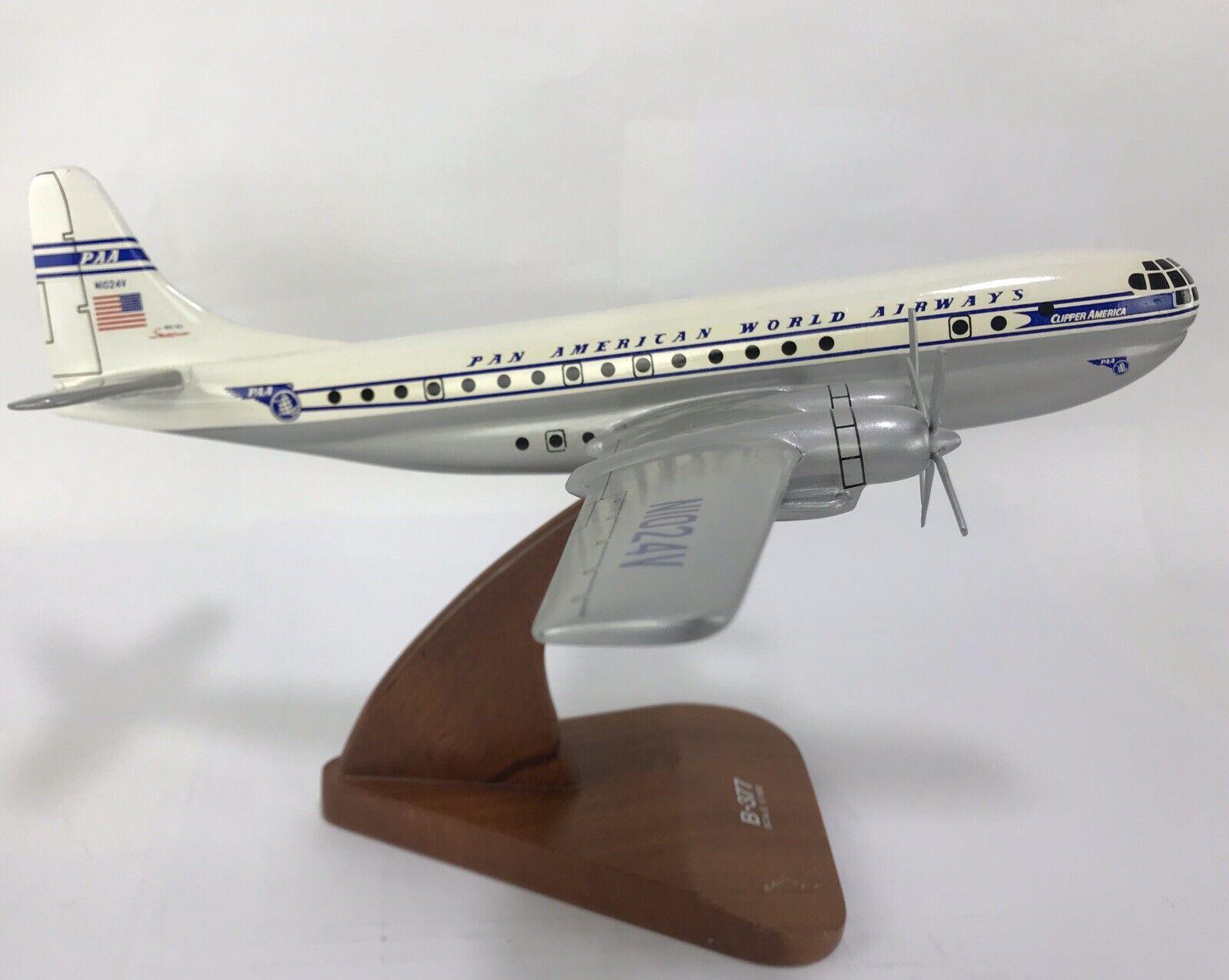 Pan American Pan Am Boeing B-377 Stratocruiser Wood Wooden Model Airplane