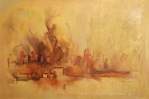 EUROPEAN-LARGE-OIL-PAINTING-ABSTRACT-LANDSCAPE