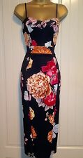 Black Floral Wiggle Pencil Bodycon Wedding Party Evening Summer Midi Dress UK 10