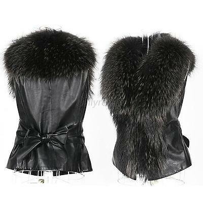 Womens Faux Fur&Leather Vest Outwear Coat Jacket Waistcoat Fur Collar Gilet Lady