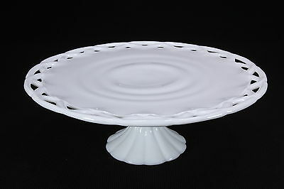 """Milk Glass Cake Pedestal Stand With Open Lace Edge By Colony 13 3/4"""" Diameter"""