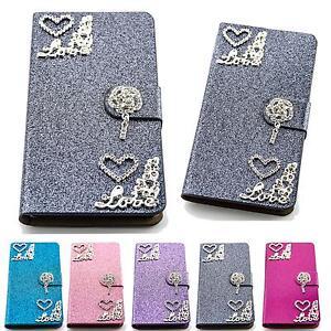 Glitzer-Handy-Tasche-Herz-Flip-Case-Cover-Schutz-Huelle-Klapp-Etui-Schale-M227