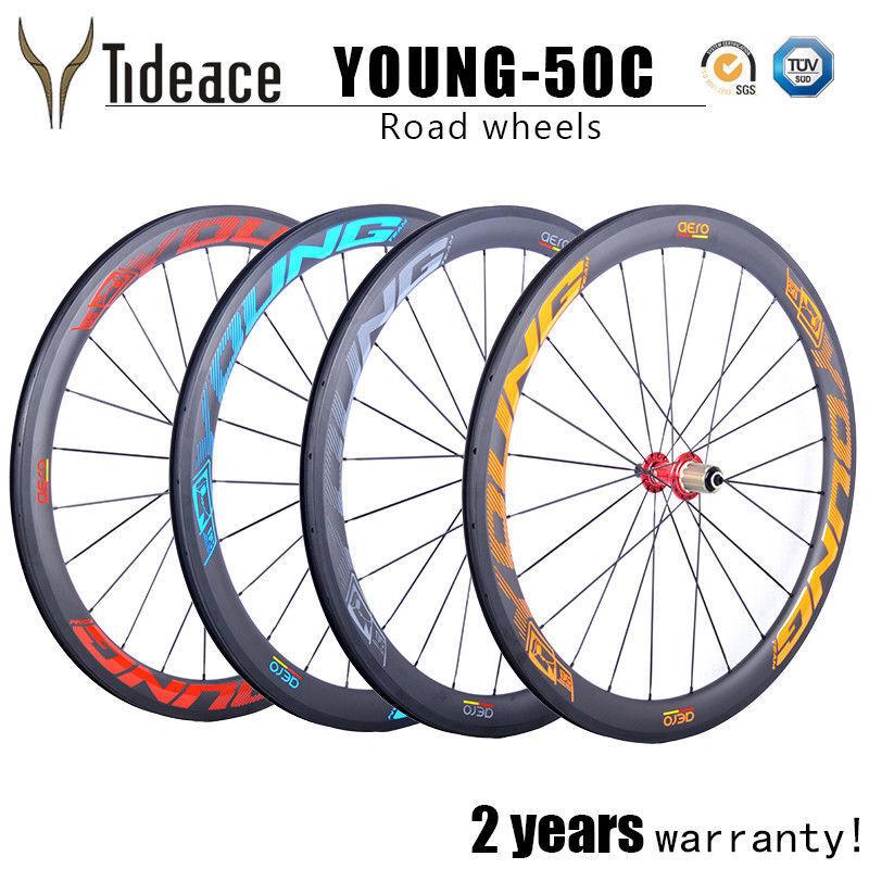 50mm 700C Carbon Fiber Road Racing Bike Wheels 291 Red Hubs Cycling Bike Wheels