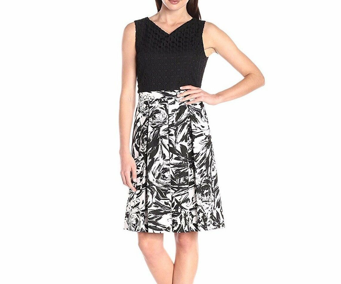 Ellen Tracy Casual Sleeveless Dress Fit and Flare with Printed Skirt-Größe 6