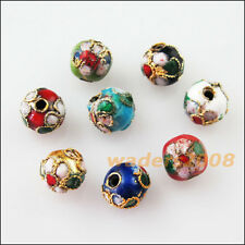 16 Charms Mixed Enamel Cloisonne Round Ball Accessories Spacer Beads 6mm